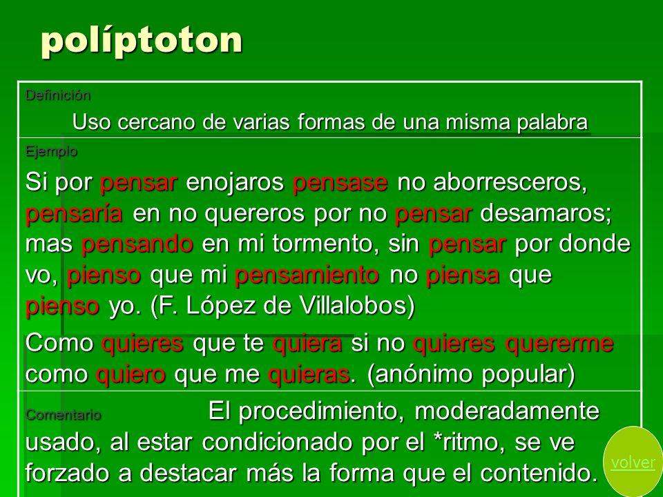 políptoton Definición Uso cercano de varias formas de una misma palabra Ejemplo Si por pensar enojaros pensase no aborresceros, pensaría en no querero