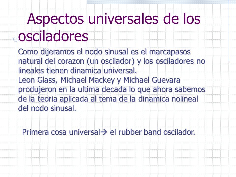 Aspectos universales de los osciladores Como dijeramos el nodo sinusal es el marcapasos natural del corazon (un oscilador) y los osciladores no lineales tienen dinamica universal.