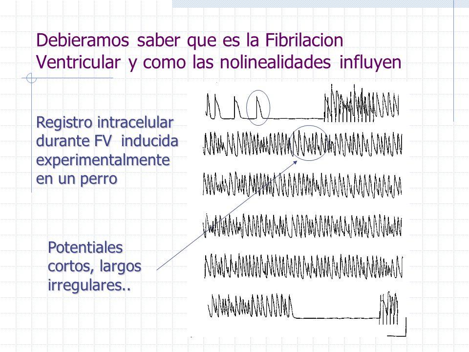 Debieramos saber que es la Fibrilacion Ventricular y como las nolinealidades influyen Registro intracelular durante FV inducida experimentalmente en un perro Potentiales cortos, largos irregulares..