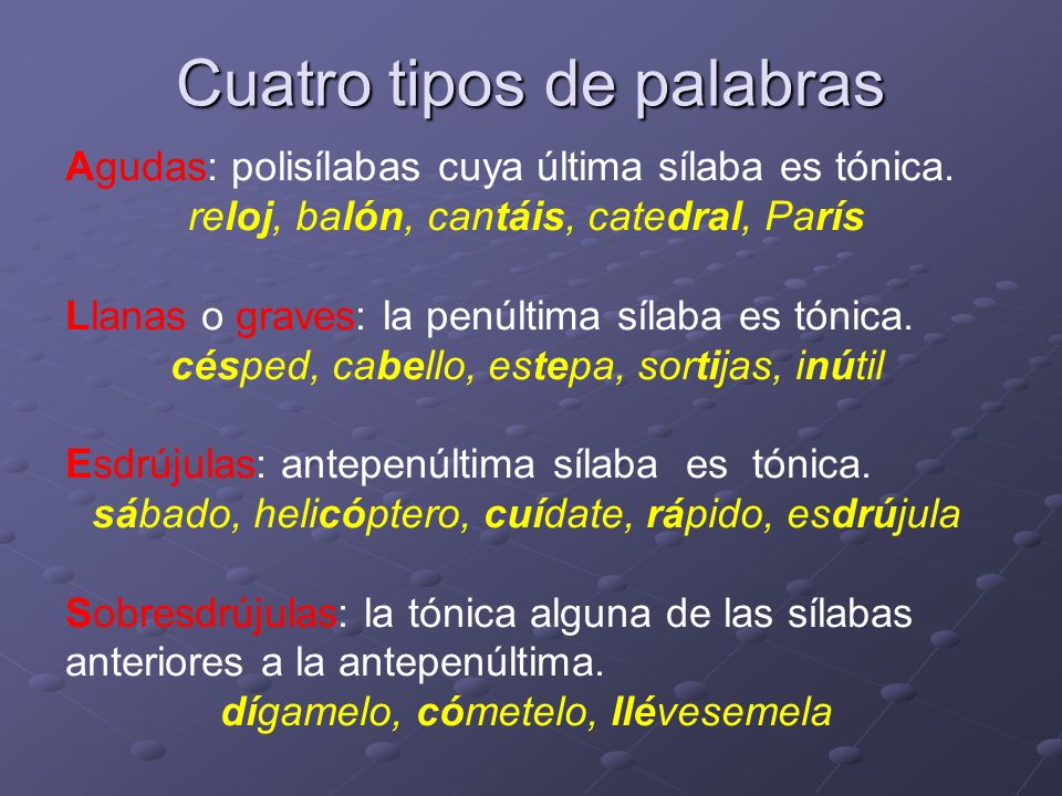 Las palabras agudas Llevan tilde cuando terminan en vocal, -n o –s: consomé, está, alhelí, además.