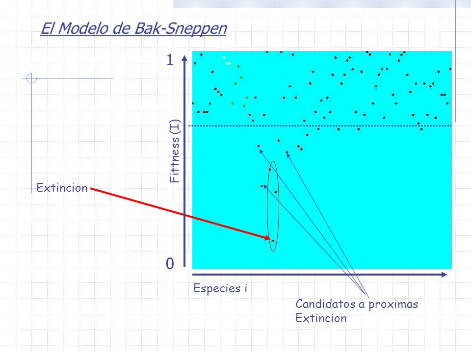 El Modelo de Bak-Sneppen Extincion Candidatos a proximas Extincion Fittness (I) 0 1 Especies i