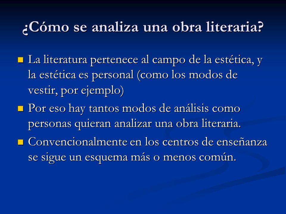 ¿Cómo se analiza una obra literaria? La literatura pertenece al campo de la estética, y la estética es personal (como los modos de vestir, por ejemplo
