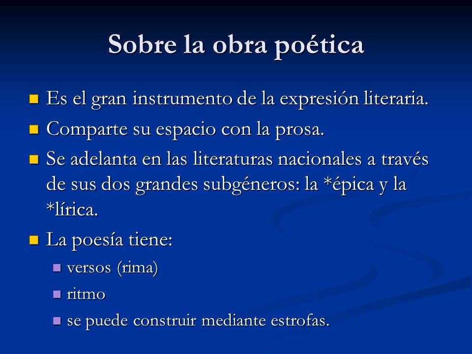 Sobre la obra poética Es el gran instrumento de la expresión literaria. Es el gran instrumento de la expresión literaria. Comparte su espacio con la p