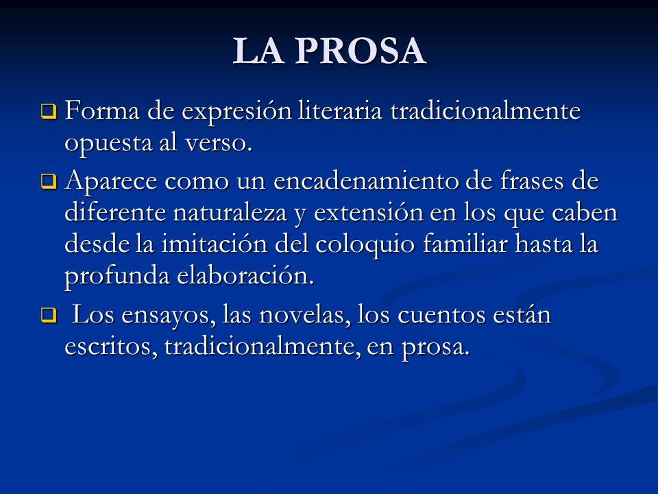 LA PROSA Forma de expresión literaria tradicionalmente opuesta al verso. Forma de expresión literaria tradicionalmente opuesta al verso. Aparece como