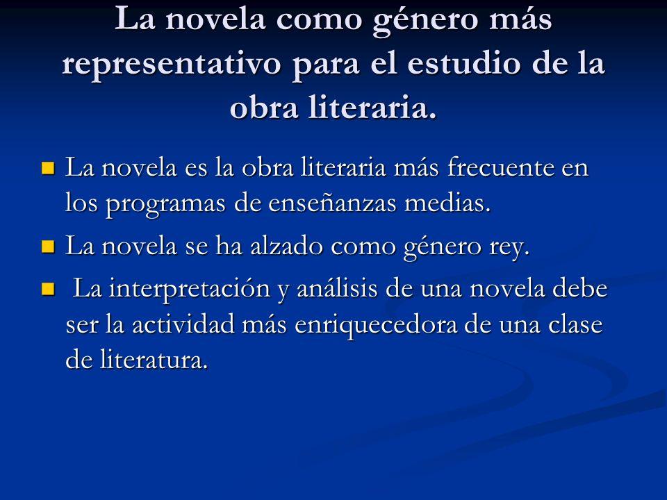 La novela como género más representativo para el estudio de la obra literaria. La novela es la obra literaria más frecuente en los programas de enseña