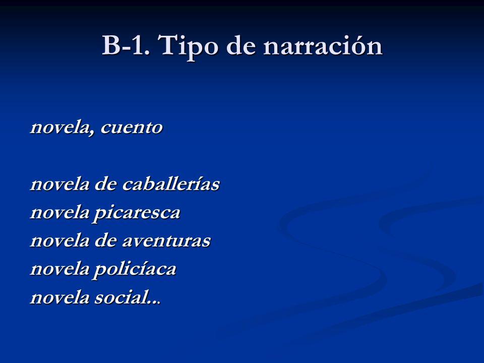 B-1. Tipo de narración novela, cuento novela de caballerías novela picaresca novela de aventuras novela policíaca novela social...