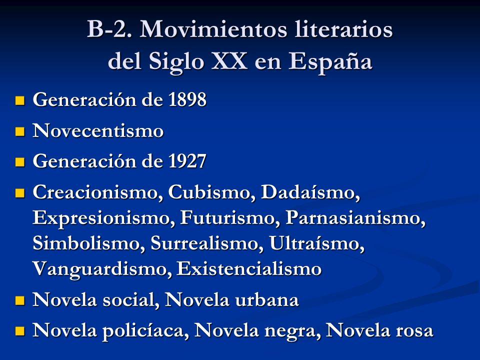 B-2. Movimientos literarios del Siglo XX en España Generación de 1898 Generación de 1898 Novecentismo Novecentismo Generación de 1927 Generación de 19