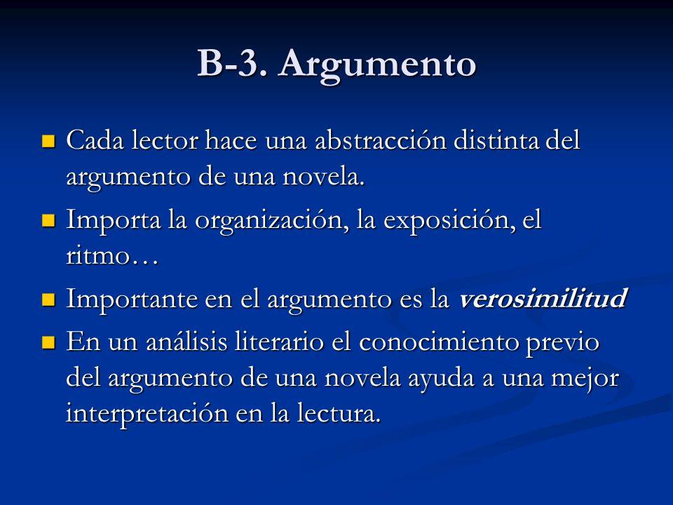 B-3. Argumento Cada lector hace una abstracción distinta del argumento de una novela. Cada lector hace una abstracción distinta del argumento de una n