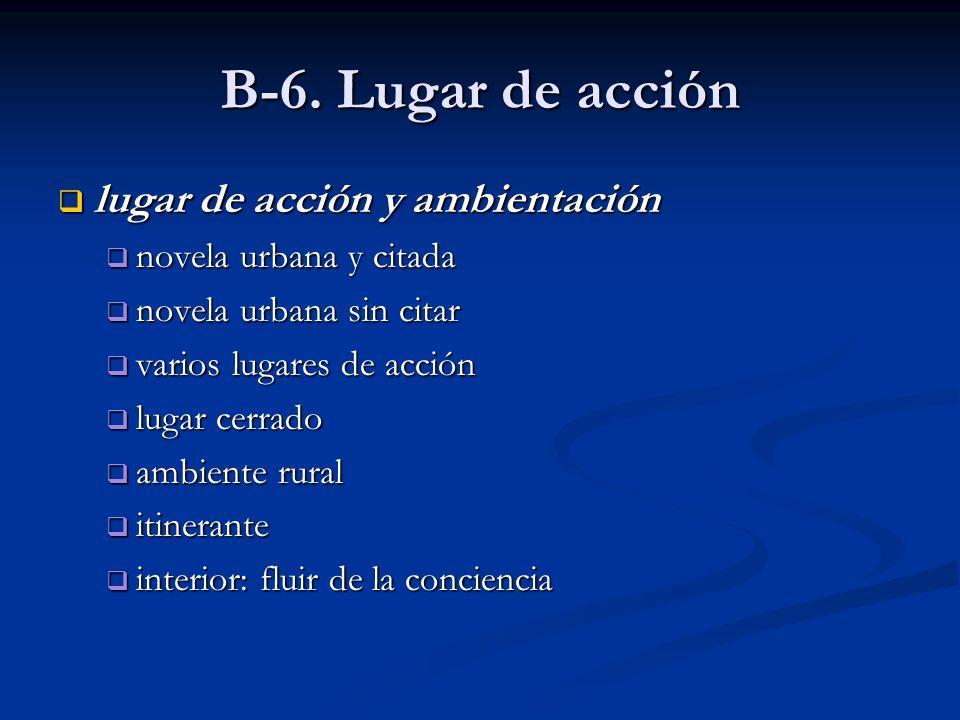 B-6. Lugar de acción lugar de acción y ambientación lugar de acción y ambientación novela urbana y citada novela urbana y citada novela urbana sin cit