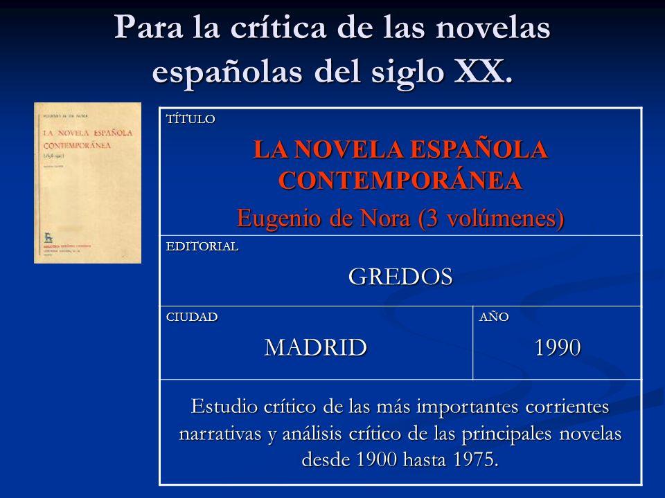 Para la crítica de las novelas españolas del siglo XX. TÍTULO LA NOVELA ESPAÑOLA CONTEMPORÁNEA Eugenio de Nora (3 volúmenes) EDITORIALGREDOS CIUDADMAD