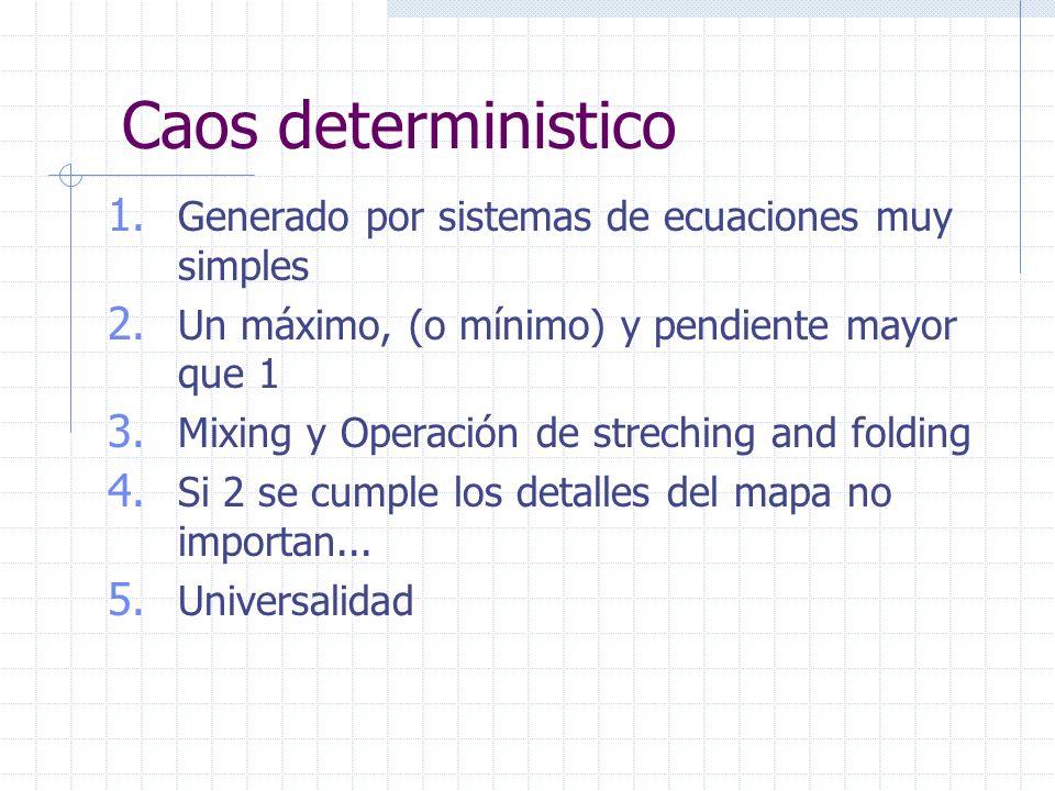 Caos deterministico 1. Generado por sistemas de ecuaciones muy simples 2.