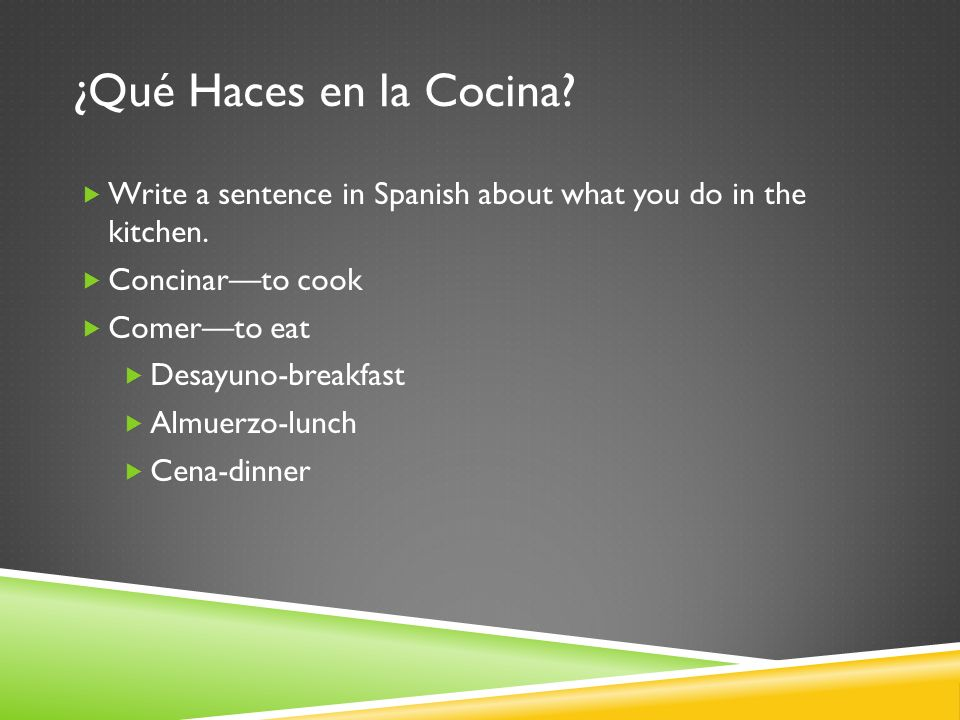 ¿Qué Haces en la Cocina. Write a sentence in Spanish about what you do in the kitchen.