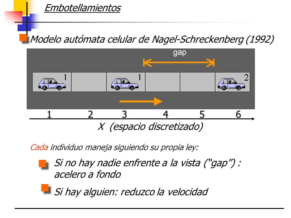 Embotellamientos Si no hay nadie enfrente a la vista (gap) : acelero a fondo Si hay alguien: reduzco la velocidad Modelo autómata celular de Nagel-Sch