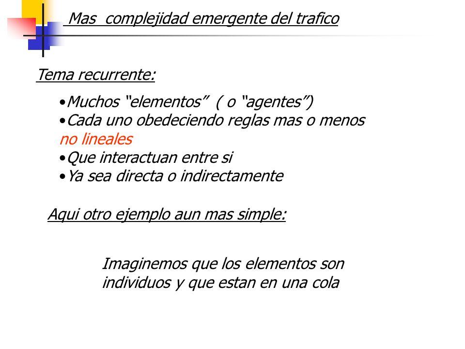 Mas complejidad emergente del trafico Muchos elementos ( o agentes) Cada uno obedeciendo reglas mas o menos no lineales Que interactuan entre si Ya se