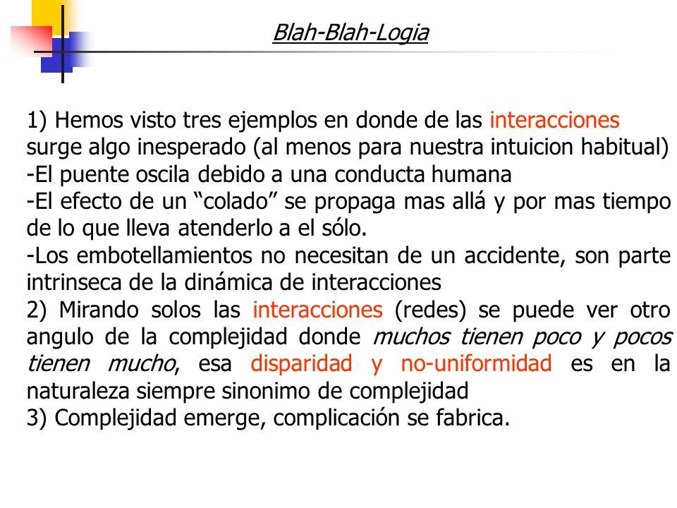 Blah-Blah-Logia 1) Hemos visto tres ejemplos en donde de las interacciones surge algo inesperado (al menos para nuestra intuicion habitual) -El puente