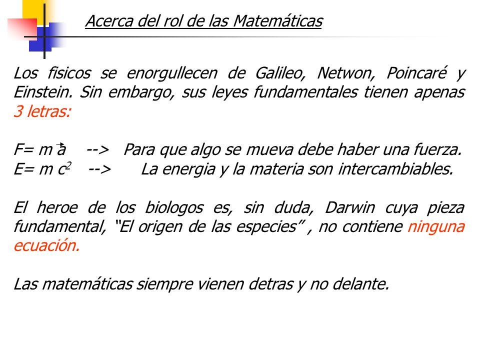 Acerca del rol de las Matemáticas Los fisicos se enorgullecen de Galileo, Netwon, Poincaré y Einstein. Sin embargo, sus leyes fundamentales tienen ape
