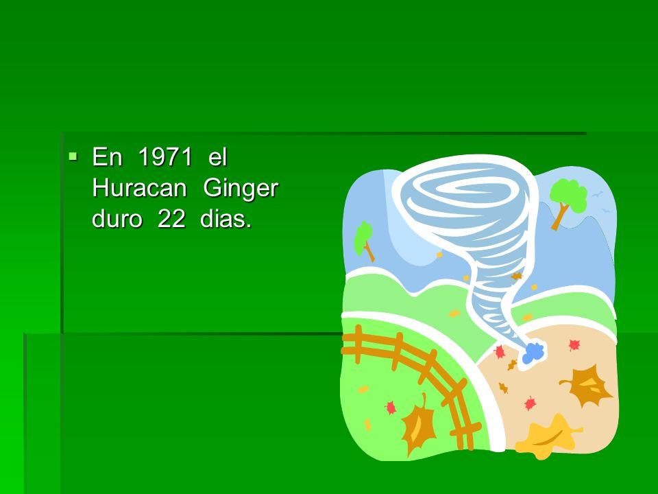En 1971 el Huracan Ginger duro 22 dias. En 1971 el Huracan Ginger duro 22 dias.