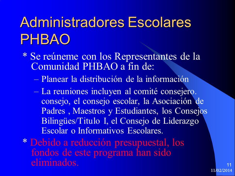 11/02/2014 11 Administradores Escolares PHBAO * Se reúneme con los Representantes de la Comunidad PHBAO a fin de: –Planear la distribución de la información –La reuniones incluyen al comité consejero.
