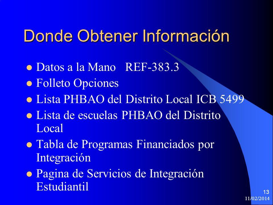 11/02/2014 13 Donde Obtener Información Datos a la Mano REF-383.3 Folleto Opciones Lista PHBAO del Distrito Local ICB 5499 Lista de escuelas PHBAO del Distrito Local Tabla de Programas Financiados por Integración Pagina de Servicios de Integración Estudiantil