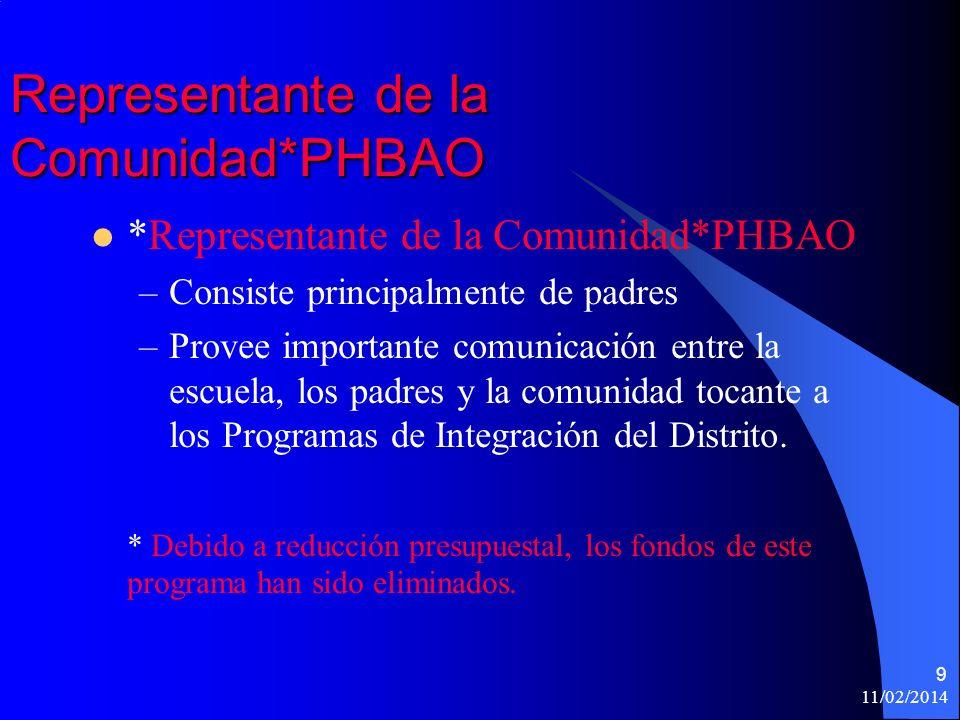 11/02/2014 9 Representante de la Comunidad*PHBAO *Representante de la Comunidad*PHBAO –Consiste principalmente de padres –Provee importante comunicación entre la escuela, los padres y la comunidad tocante a los Programas de Integración del Distrito.