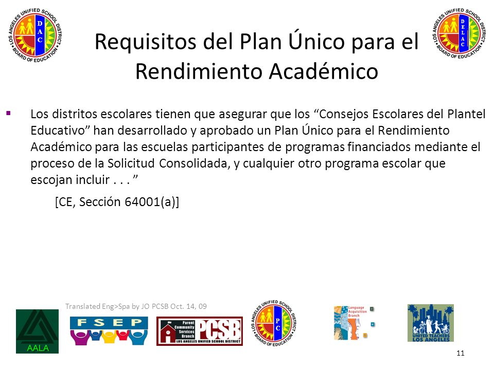 DELACDELAC DACDAC PCPC Translated Eng>Spa by JO PCSB Oct. 14, 09 11 Requisitos del Plan Único para el Rendimiento Académico Los distritos escolares ti