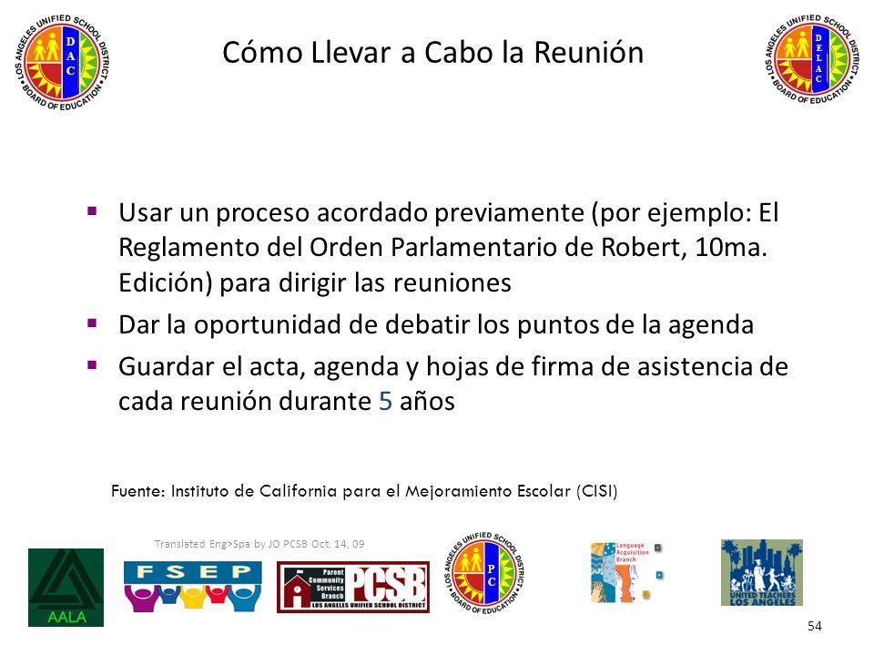 DELACDELAC DACDAC PCPC 54 Cómo Llevar a Cabo la Reunión Usar un proceso acordado previamente (por ejemplo: El Reglamento del Orden Parlamentario de Robert, 10ma.