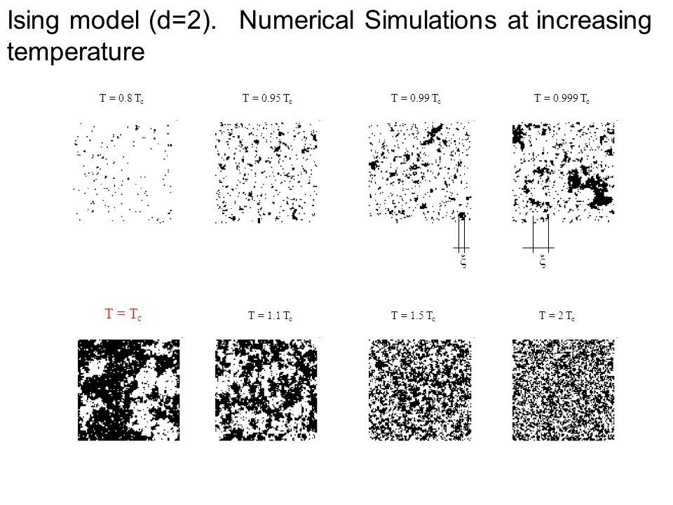 Ising model (d=2). Numerical Simulations at increasing temperature T = 0.8 T c T = 0.95 T c T = 0.99 T c T = 0.999 T c T = T c T = 1.1 T c T = 1.5 T c
