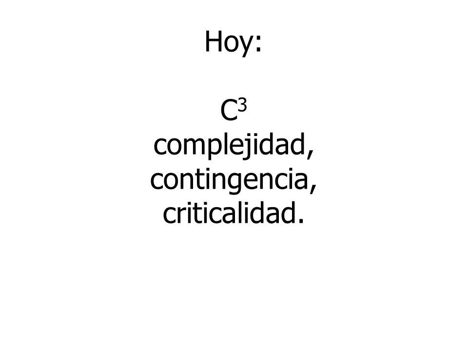 Hoy: C 3 complejidad, contingencia, criticalidad.