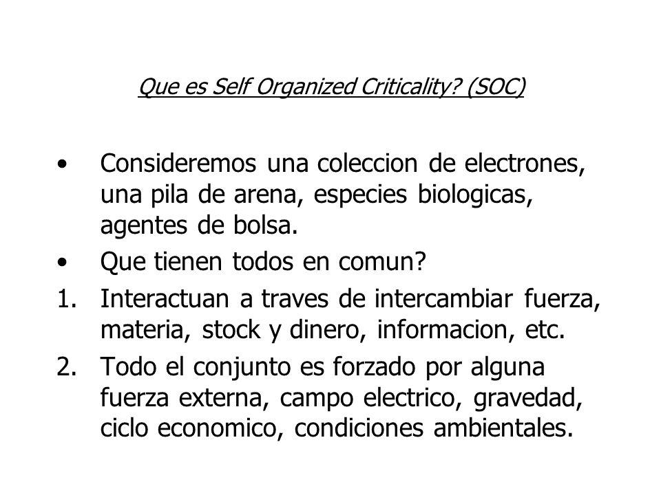 Que es Self Organized Criticality? (SOC) Consideremos una coleccion de electrones, una pila de arena, especies biologicas, agentes de bolsa. Que tiene