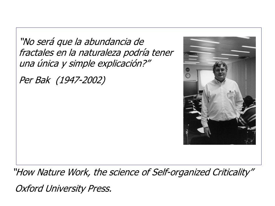 No será que la abundancia de fractales en la naturaleza podría tener una única y simple explicación? Per Bak (1947-2002) How Nature Work, the science