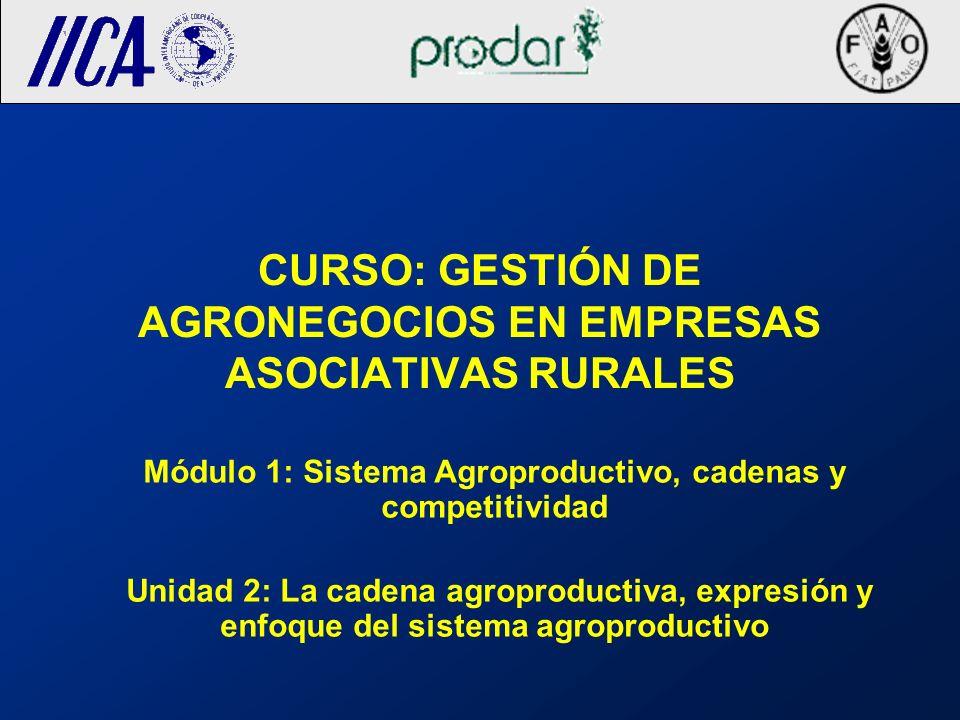 CURSO: GESTIÓN DE AGRONEGOCIOS EN EMPRESAS ASOCIATIVAS RURALES Módulo 1: Sistema Agroproductivo, cadenas y competitividad Unidad 2: La cadena agroprod