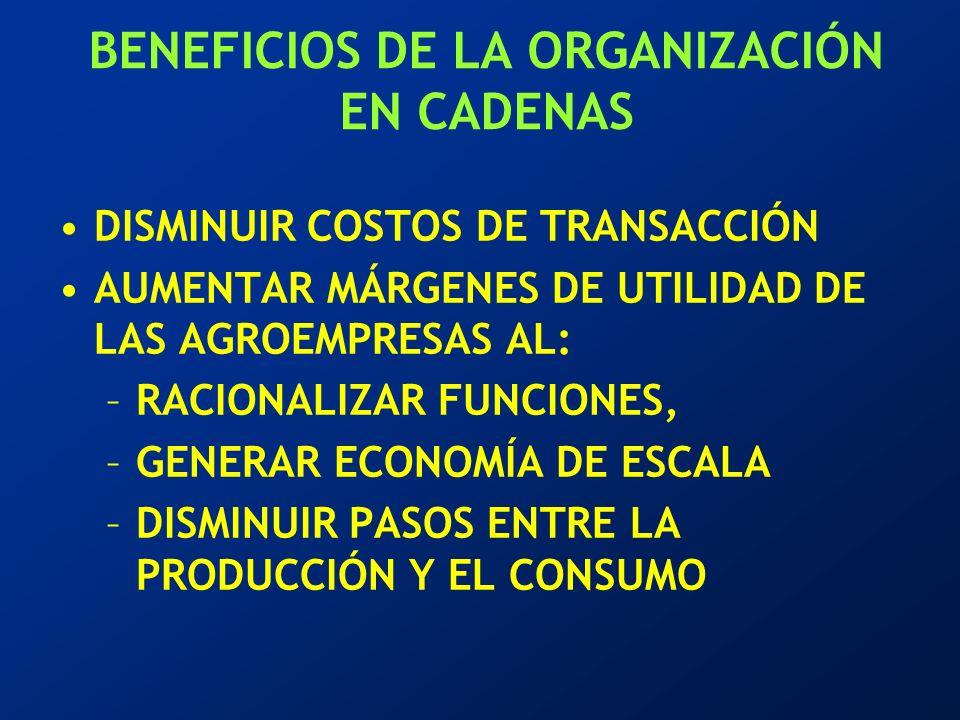 BENEFICIOS DE LA ORGANIZACIÓN EN CADENAS DISMINUIR COSTOS DE TRANSACCIÓN AUMENTAR MÁRGENES DE UTILIDAD DE LAS AGROEMPRESAS AL: –RACIONALIZAR FUNCIONES