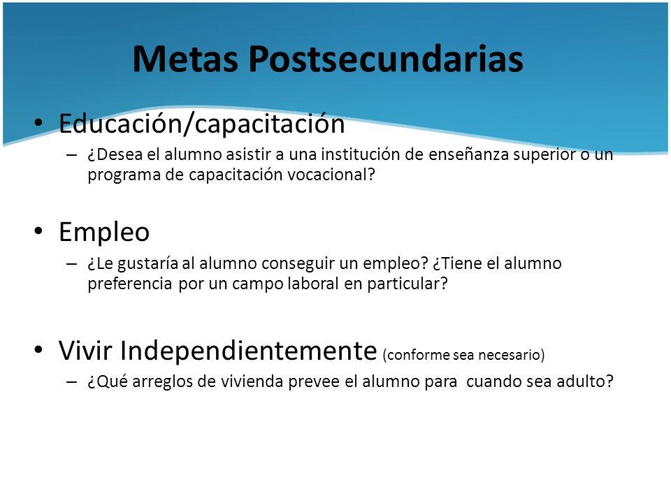 Metas Postsecundarias Educación/capacitación – ¿Desea el alumno asistir a una institución de enseñanza superior o un programa de capacitación vocacion