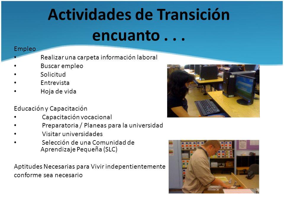 Actividades de Transición encuanto... Empleo Realizar una carpeta información laboral Buscar empleo Solicitud Entrevista Hoja de vida Educación y Capa