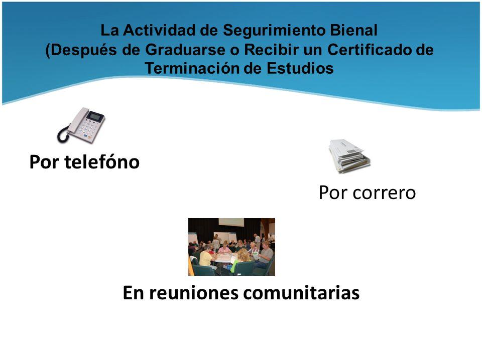 La Actividad de Segurimiento Bienal (Después de Graduarse o Recibir un Certificado de Terminación de Estudios Por telefóno Por correro En reuniones co