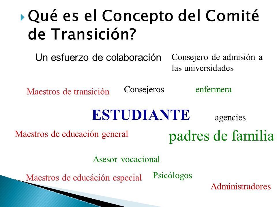 Qué es el Concepto del Comité de Transición? Un esfuerzo de colaboración Consejero de admisión a las universidades Consejeros Maestros de transición e