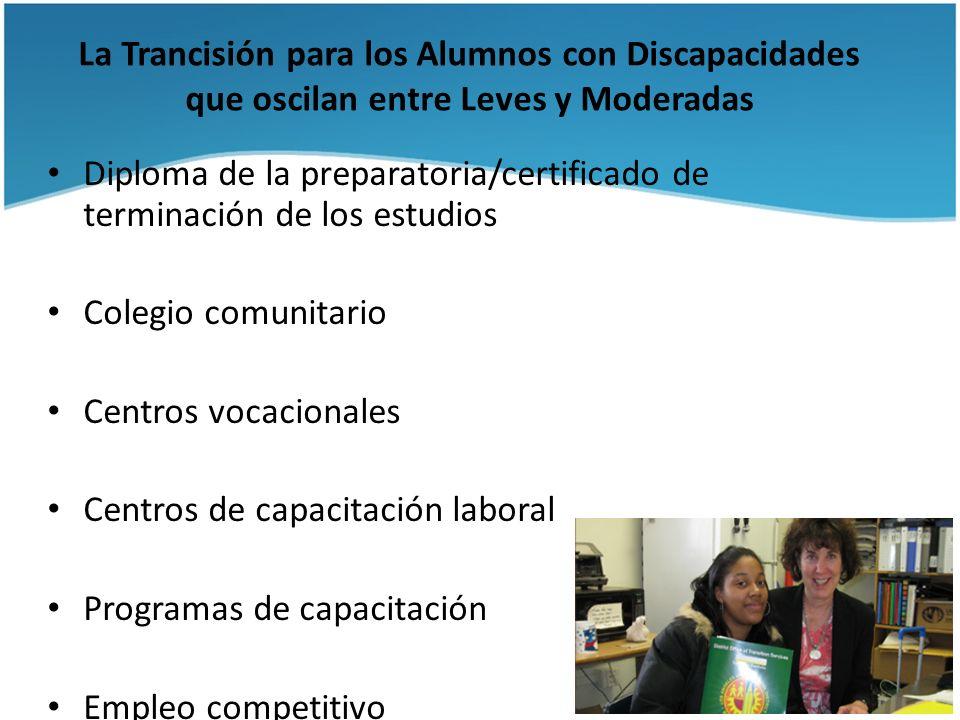 La Trancisión para los Alumnos con Discapacidades que oscilan entre Leves y Moderadas Diploma de la preparatoria/certificado de terminación de los est