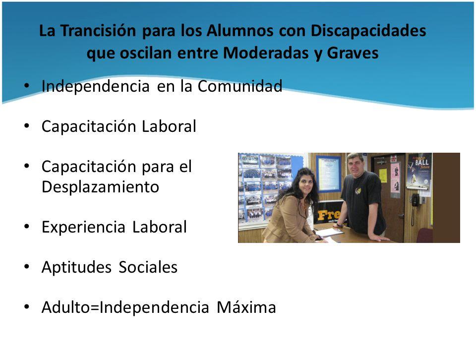 La Trancisión para los Alumnos con Discapacidades que oscilan entre Moderadas y Graves Independencia en la Comunidad Capacitación Laboral Capacitación
