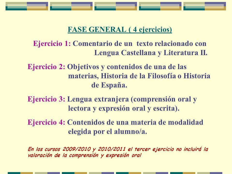 FASE GENERAL ( 4 ejercicios) Ejercicio 1: Comentario de un texto relacionado con Lengua Castellana y Literatura II. Ejercicio 2: Objetivos y contenido