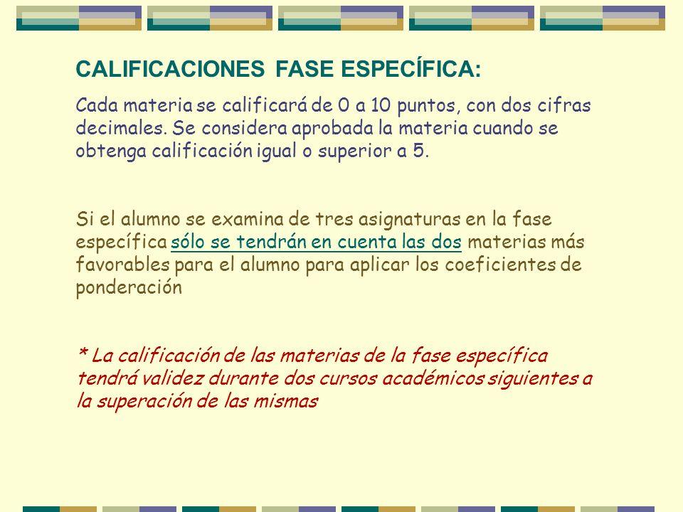 CALIFICACIONES FASE ESPECÍFICA: Cada materia se calificará de 0 a 10 puntos, con dos cifras decimales. Se considera aprobada la materia cuando se obte