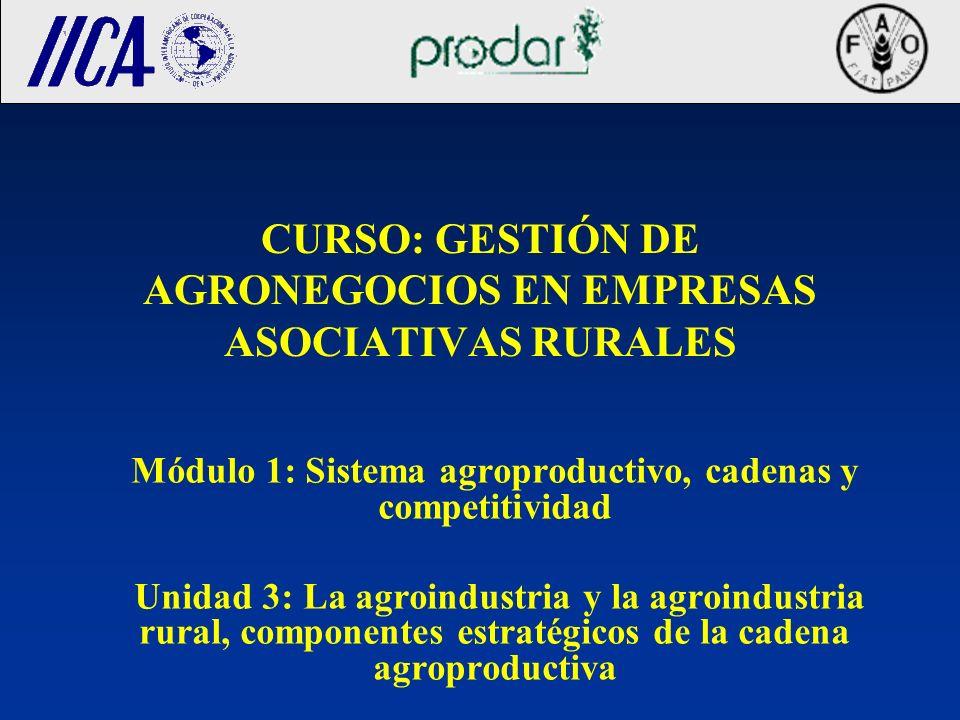 CURSO: GESTIÓN DE AGRONEGOCIOS EN EMPRESAS ASOCIATIVAS RURALES Módulo 1: Sistema agroproductivo, cadenas y competitividad Unidad 3: La agroindustria y la agroindustria rural, componentes estratégicos de la cadena agroproductiva