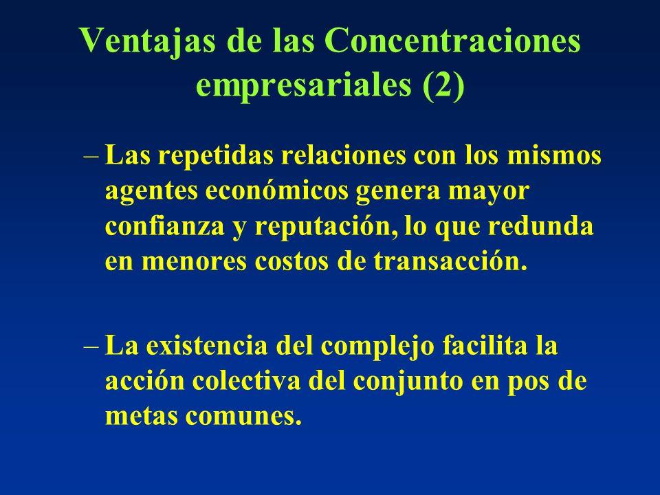 Ventajas de las Concentraciones empresariales (2) –Las repetidas relaciones con los mismos agentes económicos genera mayor confianza y reputación, lo que redunda en menores costos de transacción.
