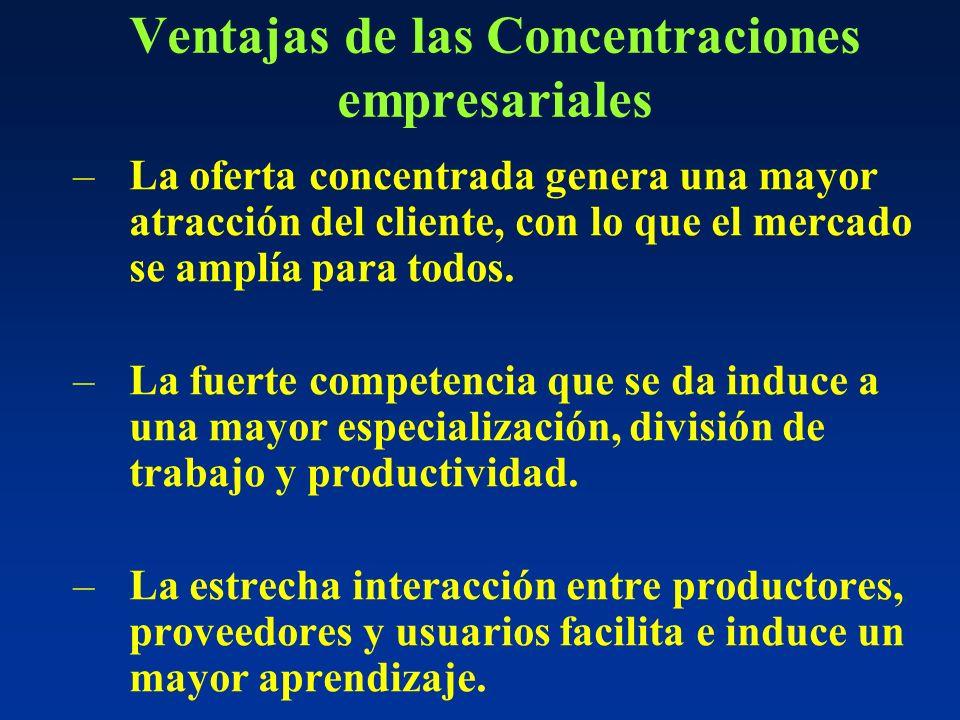 Ventajas de las Concentraciones empresariales –La oferta concentrada genera una mayor atracción del cliente, con lo que el mercado se amplía para todos.