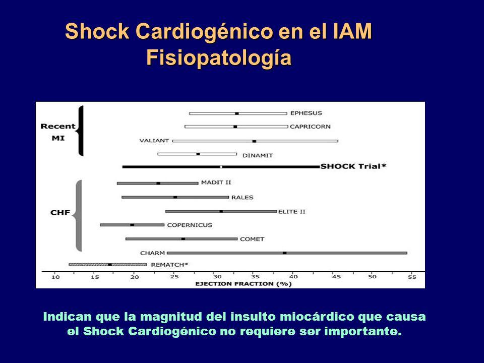 Shock Cardiogénico en el IAM Fisiopatología Indican que la magnitud del insulto miocárdico que causa el Shock Cardiogénico no requiere ser importante.