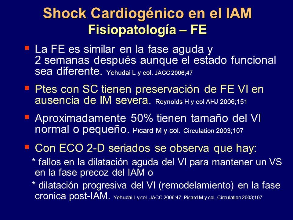Shock Cardiogénico en el IAM Fisiopatología – FE La FE es similar en la fase aguda y 2 semanas después aunque el estado funcional sea diferente. Yehud