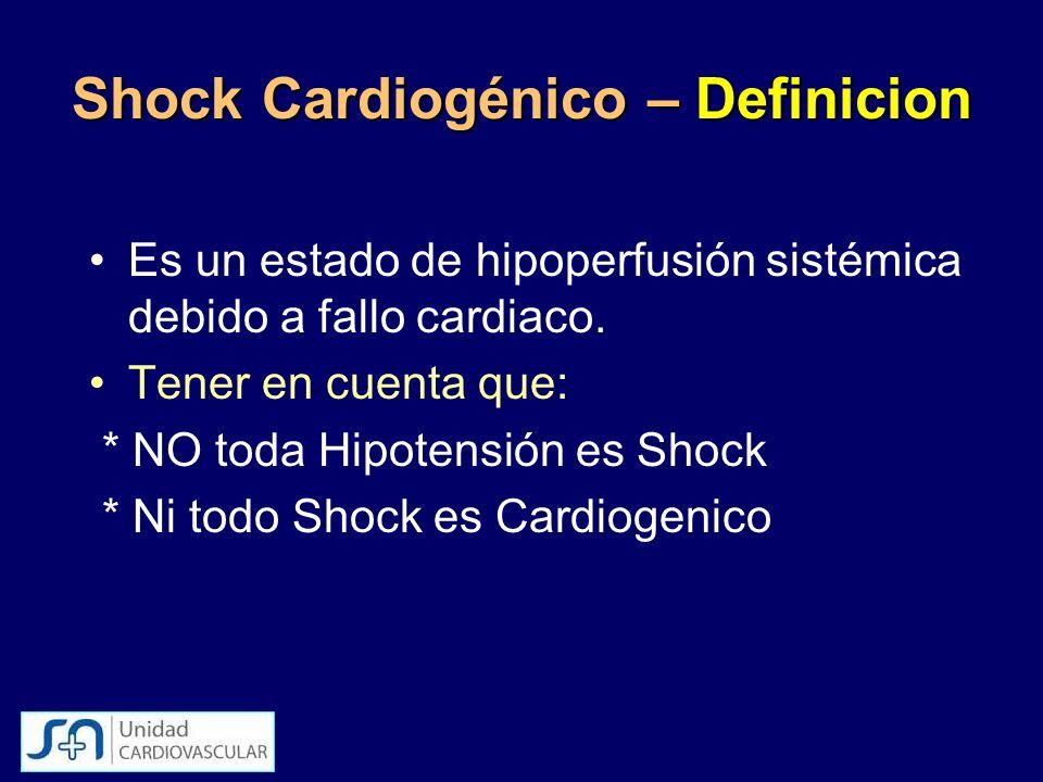 Shock Cardiogénico – Definicion Es un estado de hipoperfusión sistémica debido a fallo cardiaco. Tener en cuenta que: * NO toda Hipotensión es Shock *