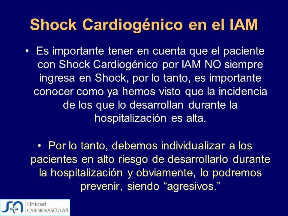 Shock Cardiogénico en el IAM Es importante tener en cuenta que el paciente con Shock Cardiogénico por IAM NO siempre ingresa en Shock, por lo tanto, e