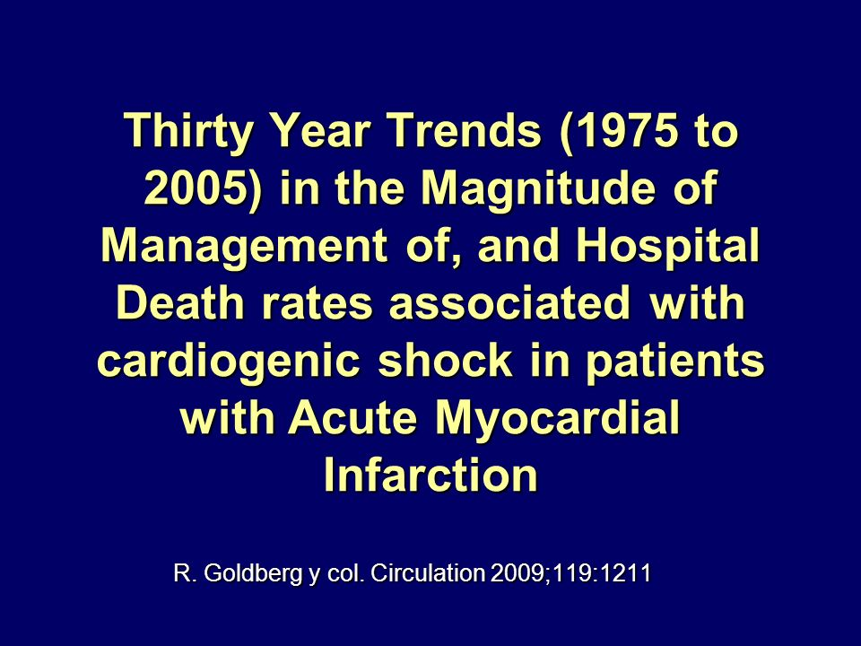 Thirty Year Trends (1975 to 2005) in the Magnitude of Management of, and Hospital Death rates associated with cardiogenic shock in patients with Acute