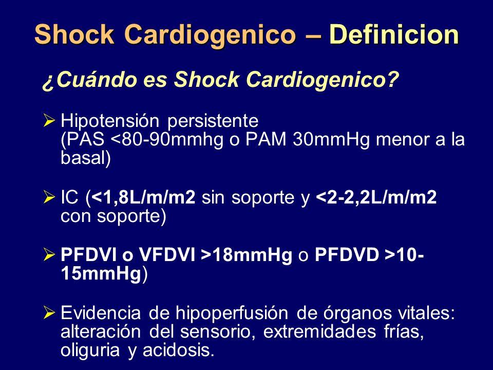 Shock Cardiogenico – Definicion ¿Cuándo es Shock Cardiogenico? Hipotensión persistente (PAS <80-90mmhg o PAM 30mmHg menor a la basal) IC (<1,8L/m/m2 s