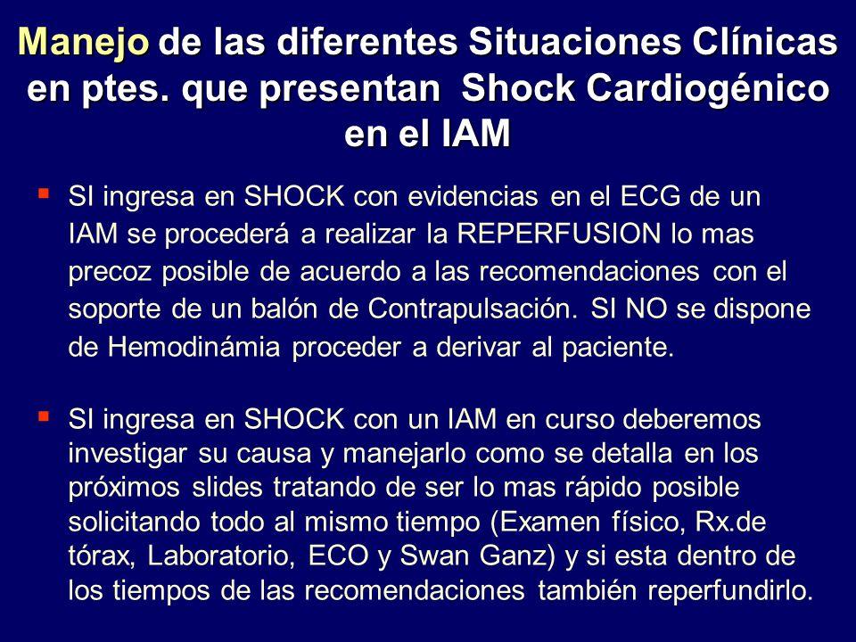 Manejo de las diferentes Situaciones Clínicas en ptes. que presentan Shock Cardiogénico en el IAM SI ingresa en SHOCK con evidencias en el ECG de un I